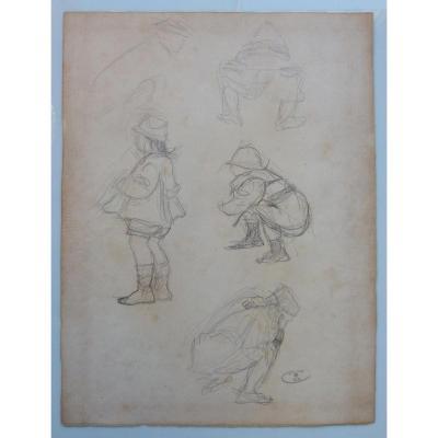 DESSIN ORIGINAL d'Odilon ROCHE -1868-1947- ETUDES DE FILLETTES CACHET D'ATELIER