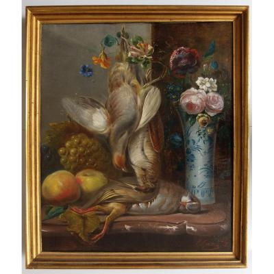 Hst M. Garon Still Life Vase Of Flowers And Trophy In Partreau And Woodcock