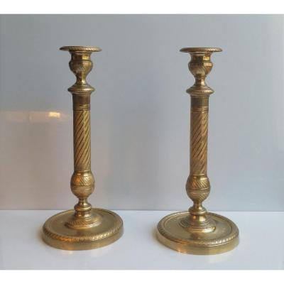 Pair Of Torches In Gilt Bronze Chiseled Restoration Period 27 Cm