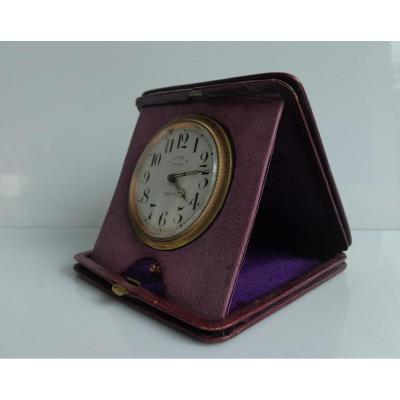 Mappin And Webb, Lausanne, 1900 8 Days Clock And In Purple Leather Case