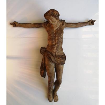 XVI ° Important Christ Carved Wood Polychromed Golden 53 Cm
