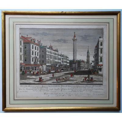 Gravure 18ème Monument érigé En Mémoire Du Funeste Incendie De l'An 1666 à Londres