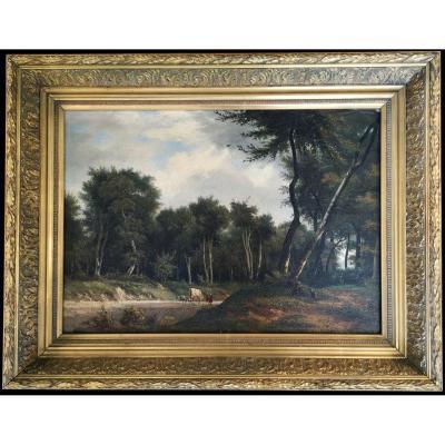 Alexis-Victor Joly 1798-1870 école Barbizon Paysage animé HST 35 X 45
