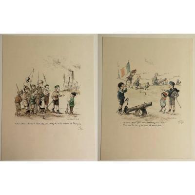 Francisque Poulbot 1879-1946 Porte-folio-18-lithos-1915-jeux-d'enfants-guerre-