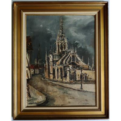 Robert Lp Lavoine 1916-1999 Ciel d'Orage In Rouen Large Oil 48 X 64