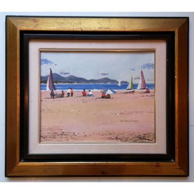 "Antonio SADURNI (1927-2014) peintre pintor catalan ""Playa de Cambrils"" 32 X 40"