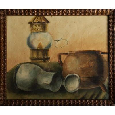 Raf Steed Watercolor - Still Life With Oil Lamp 1925 - Belgian School