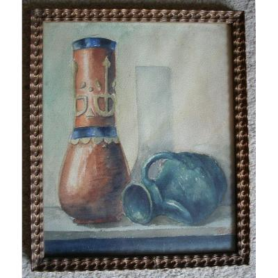 Watercolor - Still Life With Vases 1925 - Belgian School