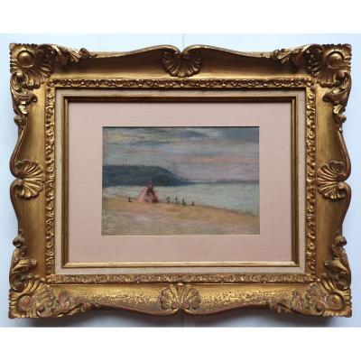 Henri Edmond Cross 1856-1910 Pastel Bord De Mer Animé 16 X 22