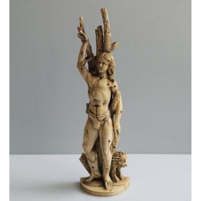 Saint Sebastian XVII ° Sculpture In Ivory Germany Ht 17 Cm Signed At