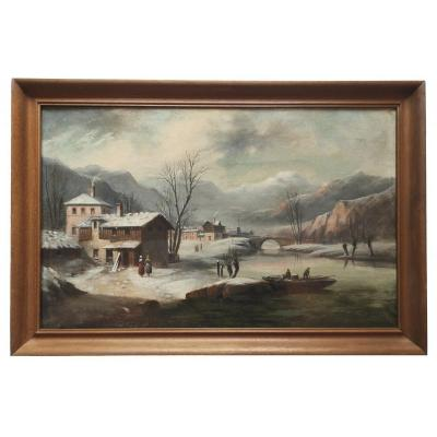 French School XIX ° Animated Landscape Savoy Winter 1881 Hst