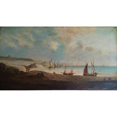 Ecole XIX° « Bord De Mer Avec Bateaux Et Pécheurs » Hst 35 X 64 Cm