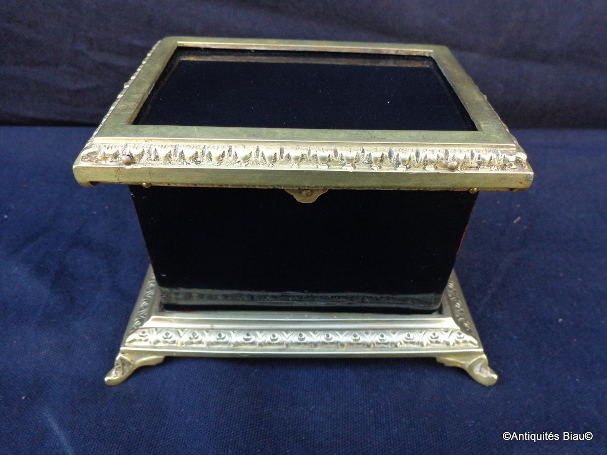 Petite Boite Noire Et  Bronze Boulle Epoque Napoléon III-photo-1