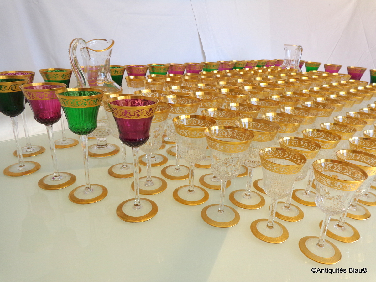 Saint Louis Thistle Or Cristal Service 120 Verres, 2 Brocs-photo-2