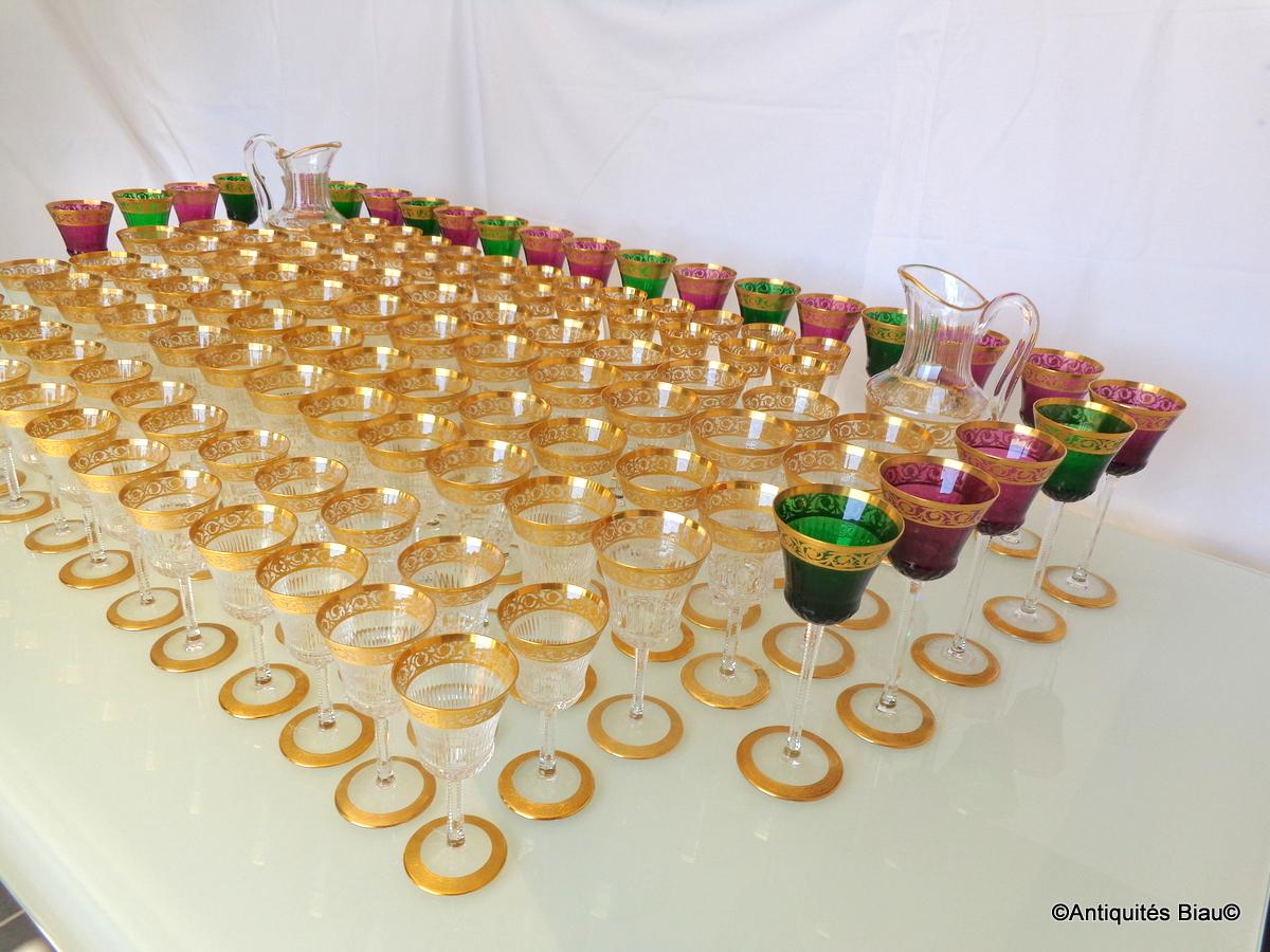 Saint Louis Thistle Or Cristal Service 120 Verres, 2 Brocs-photo-3