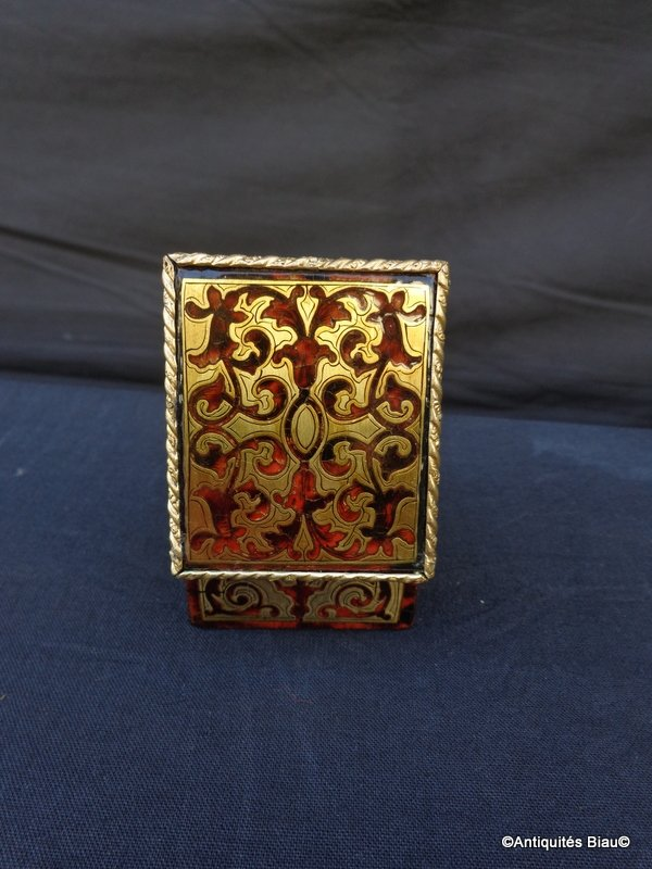 Small Jewelry Box In Boulle Marquetry All Faces Napoleon III Period-photo-1