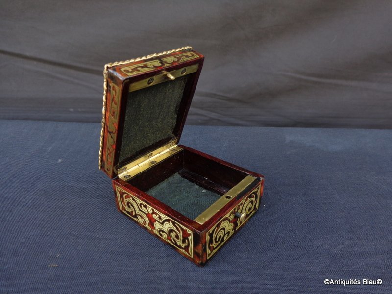 Small Jewelry Box In Boulle Marquetry All Faces Napoleon III Period-photo-2