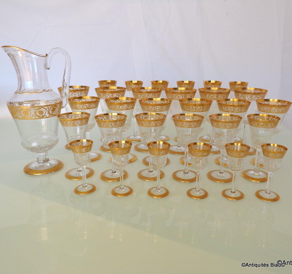 Service 30 Verres, 1 Broc En Cristal De St Louis Thistle Or