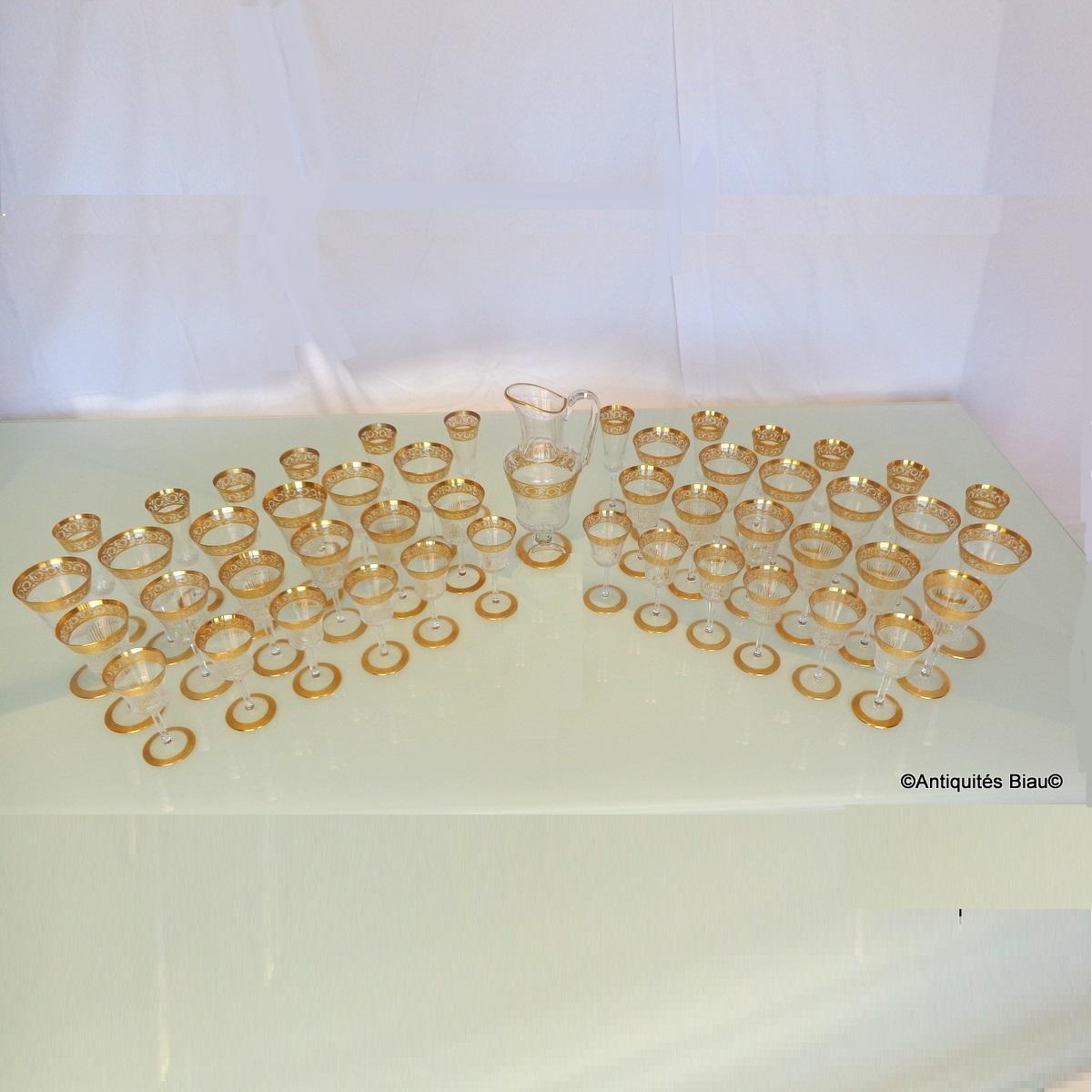 Service En Cristal De St Louis Thistle Or 48 Verres, 1 Broc