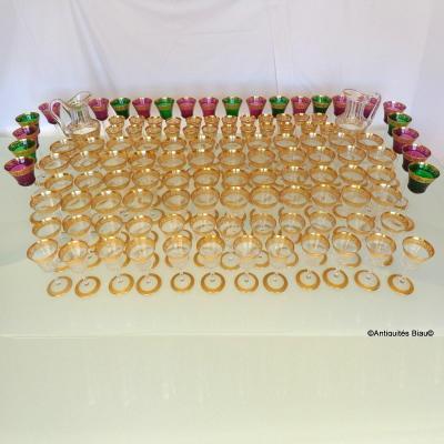 Saint Louis Thistle Or Cristal Service 120 Verres, 2 Brocs