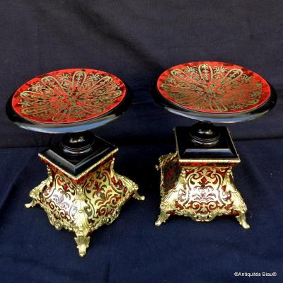 Pair Of Cassolettes In Boulle Marquetry Napoleon III Period