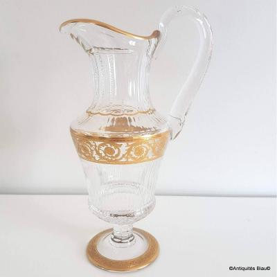 Water Decanter Pitcher In Crystal From Saint Louis Model Thistle Gold