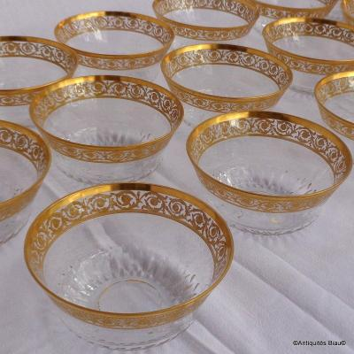 Bowl In Crystal Saint  St - Louis Thistle Gold
