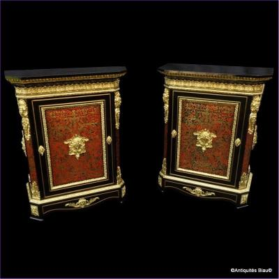 Pair Of Cabinet In Boulle Marquetry Napoleon III Period