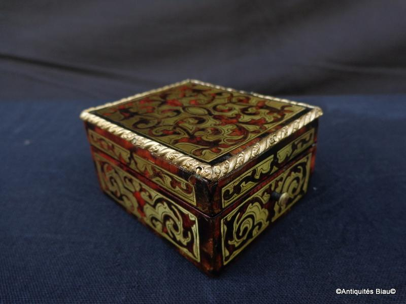 Small Jewelry Box In Boulle Marquetry All Faces Napoleon III Period-photo-3