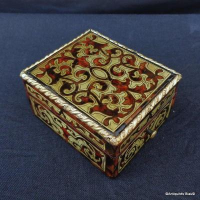 Small Jewelry Box In Boulle Marquetry All Faces Napoleon III Period