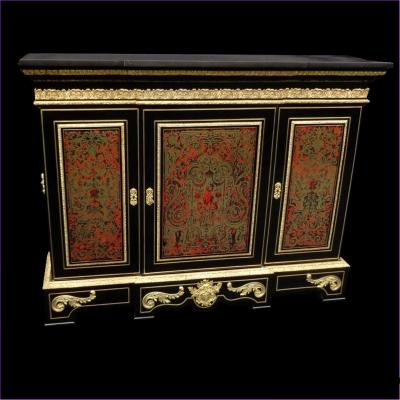 Impressive French Credenza Louis XIV Style In Marquetry Boulle 19th