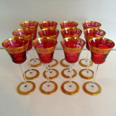Roemer Rouge En Cristal De Saint St Louis  Modéle Thistle Or