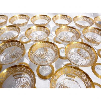 """<br /> <strong>price for 1 glass<br /> Champagne&nbsp; glasses &quot;coupe&quot; &nbsp;in Saint Louis for champagne</strong><br /> <strong>&nbsp;quantity available : please contact me</strong><br /> <strong>Price in Saint Louis shop : 398 euros each</strong><br /> <strong><em>assemble your set of table as you want.</em><br /> MODEL GOLD THISTLE</strong><br /> in perfect condition crystal and golden<br /> <br /> The thistle was the original inspiration behind this service when it was created for the Nancy exhibition in 1908 at the height of the Art Nouveau movement. Later, &#39;Entente cordiale oblige&#39;, Chardon (&#39;Thistle&#39;) was anglicised, becoming Thistle, and sparkled nobly on the greatest tables.<br /> <a href=""""http://marqueterie-boulle-napoleon.com/en/catalog/545-champagne-glasses-in-crystal-st-louis-thistle-gold.html"""">www.antiquites-biau.com</a>"""
