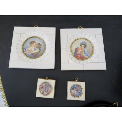 1 Paire De Miniatures Erotique Avec Cadre En Ivoire d'époque Napoléon III