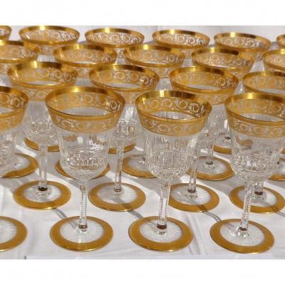 1 Verre à Eau 17.8 Cm En Cristal De  Saint Louis Modèle  Thistle Or