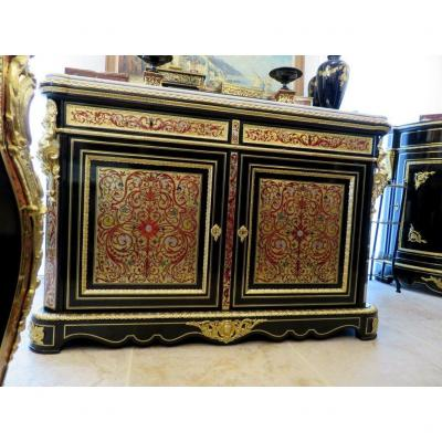 Pretot Cabinet Multi Colors In Boulle Marquetry 19th Napoléon III