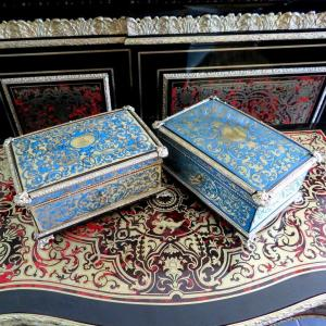 Stamped Garnesson Pair Of Boxes In Turquoise Boulle Marquetry Napoleon III Period