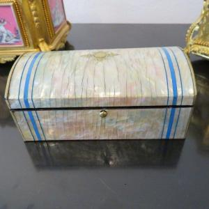 Jewelry Box In Mother Of Pearl Marquetry Boulle 19th Napoleon III Period
