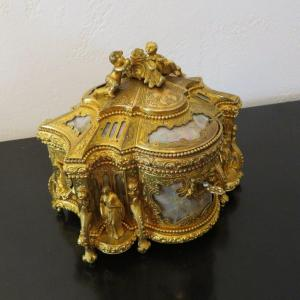 Jewelry Box In Bronze And Mother Of Pearl Boulle Napoleon III Period