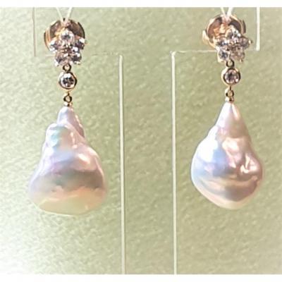 Boucles  d'Oreilles En 2  Parties Diamants Et Perles Baroques