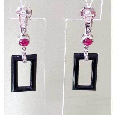 White Gold Earrings Onyx Ruby Cabochon And Diamonds