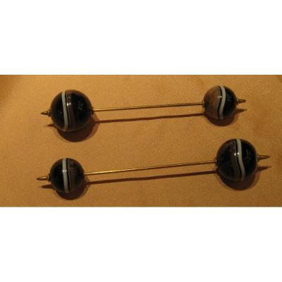 A Pair  Of Hat Pins  With  Agate  White And Black