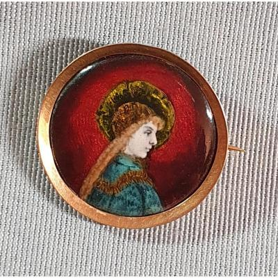 Art New  Enamelled Round Brooch - Limoges