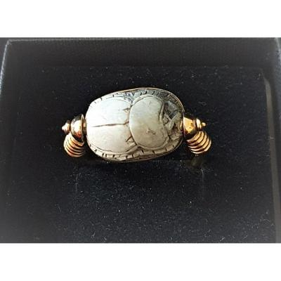 Gold Yellow  Ring &  Old  Egyptian Scarab