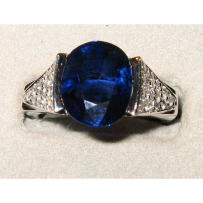Blue Saphir Ring With Diamonds White Gold Ring
