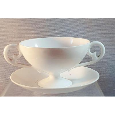 Small Trembleuse Cup With Saucer - White Porcelain