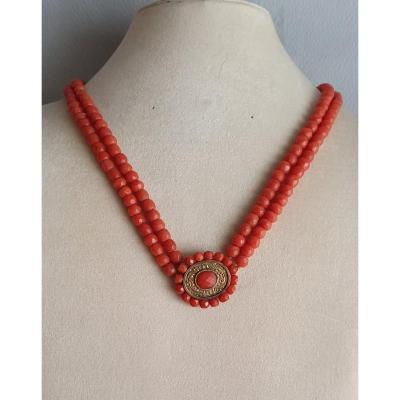 COLLIER de 2 RANGS DE CORAIL FACETTE avec MOTIF CENTRAL - 19ème SIECLE