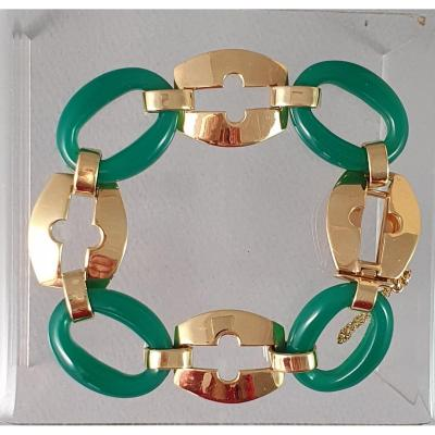 Art Deco Bangle With 4 Yellow Gold Links And 4 Chrysoprase Elements