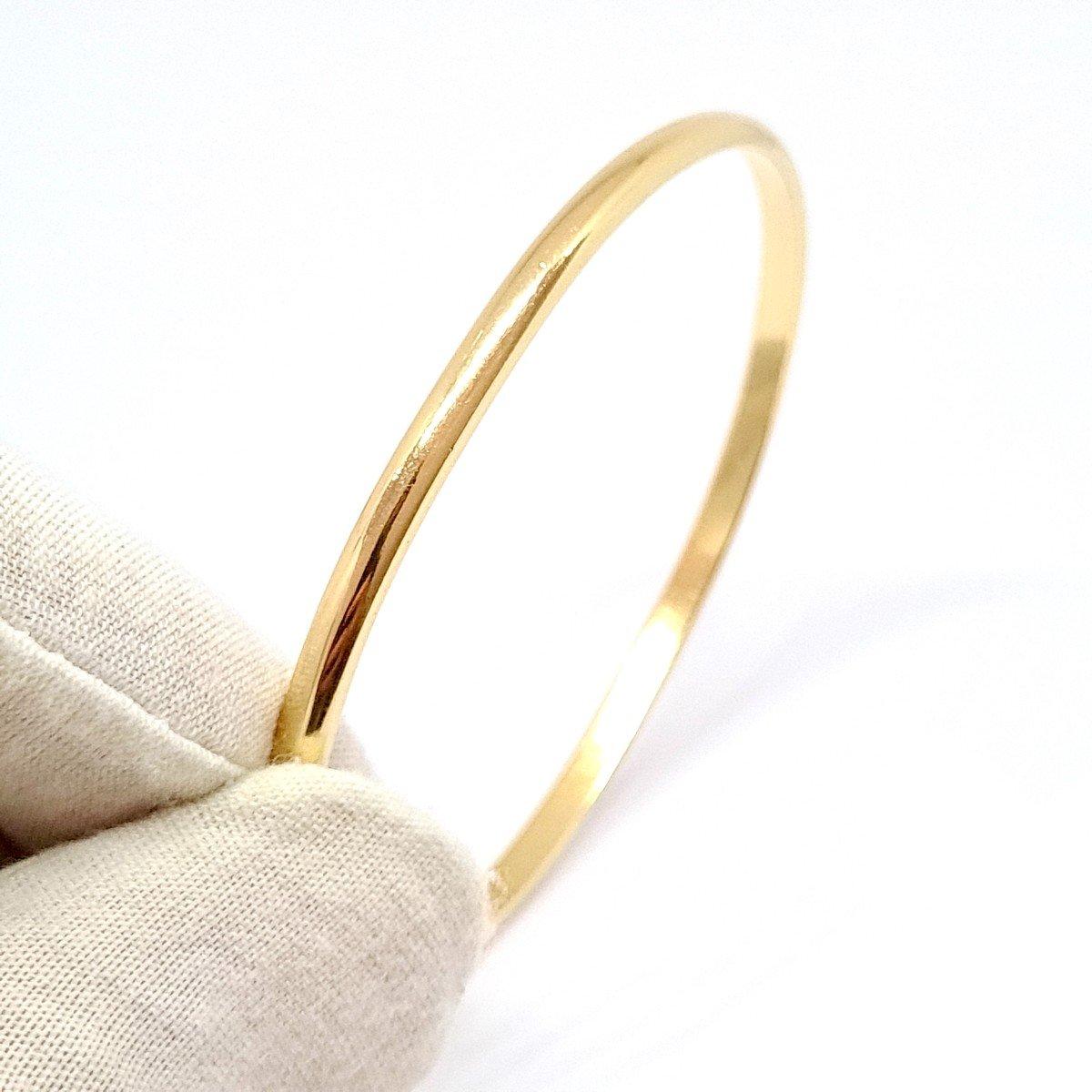 18k Yellow Gold Rigid Bangle Bracelet-photo-5