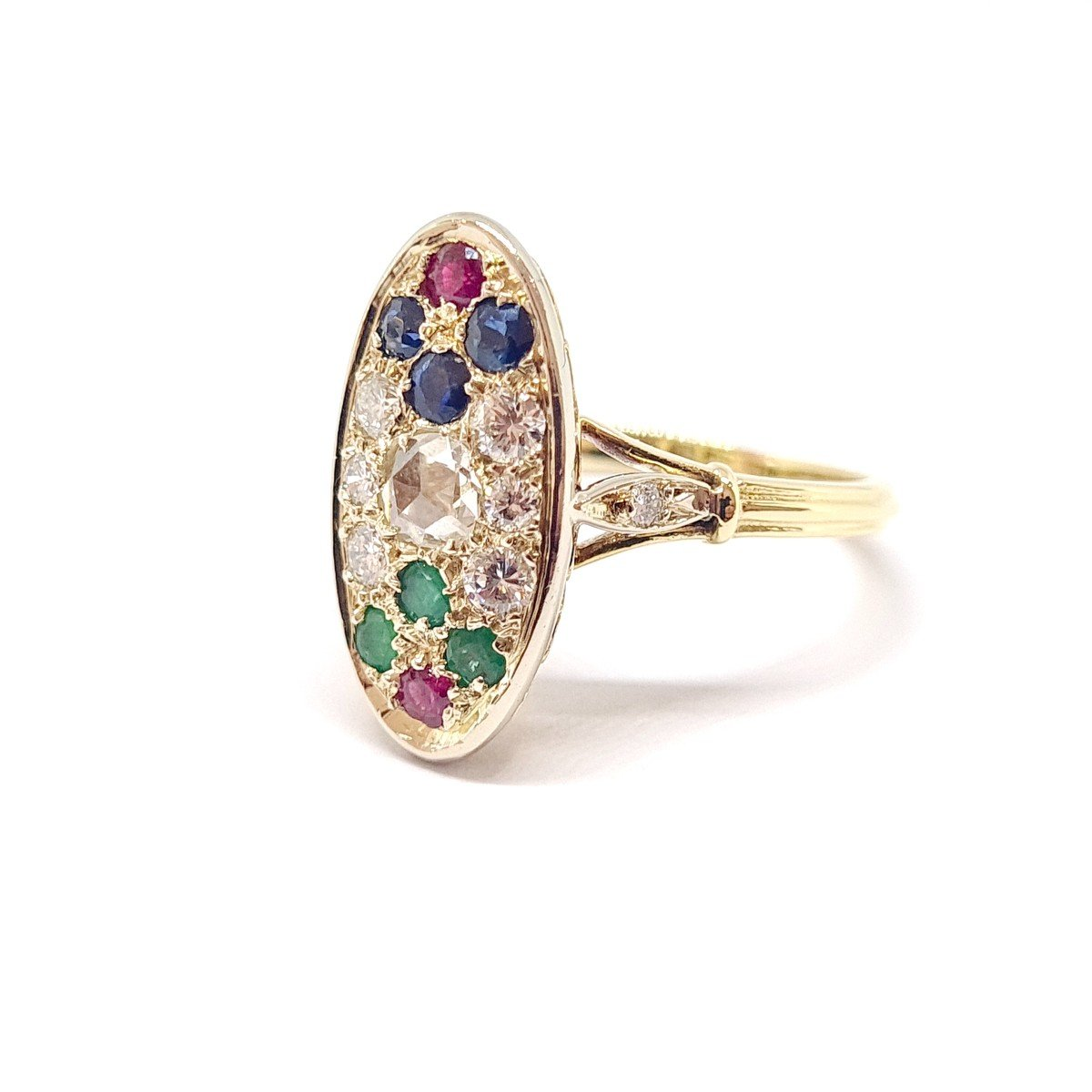 Bague Ancienne Or Jaune 18 Carats Diamants Saphirs Rubis émeraudes-photo-2